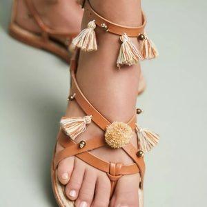 Soludos x Anthro Panarea Leather Tasseled Sandals